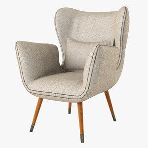 3d model italian club chair