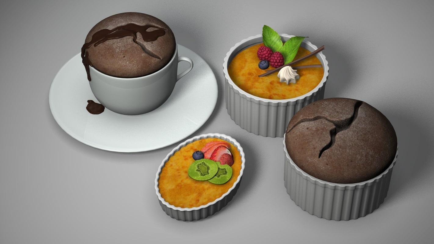 3d model ramekin desserts