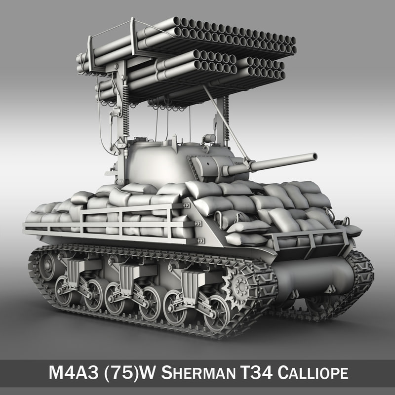 3d model m4a3 sherman calliope m4