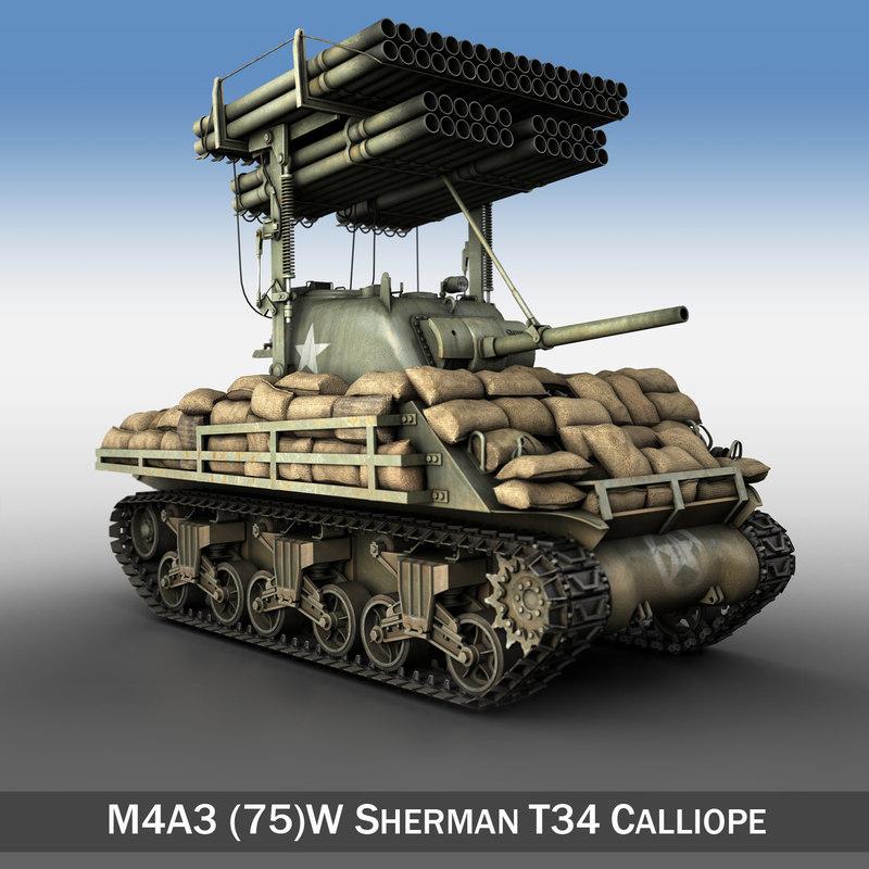 m4a3 sherman calliope m4 3d model