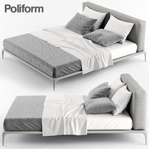 poliform park bed 3d max