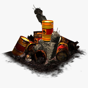 3d model explosive barrel orange -