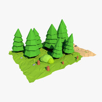 fir tree cartoon 3d model