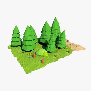 fir tree cartoon 3d model