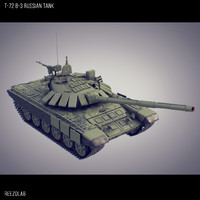 t-72 b3 russian battle tank 3d model