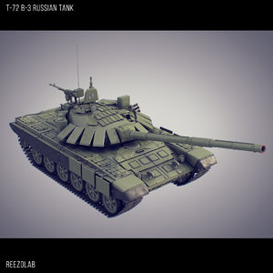 t-72 b3 russian battle tank 3d model