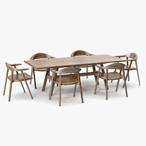 kant table mantis chair 3d model