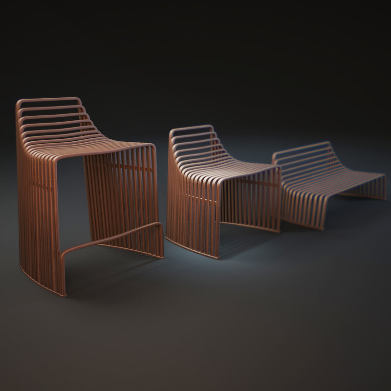 wooden-stool-vidame-creations 3d model