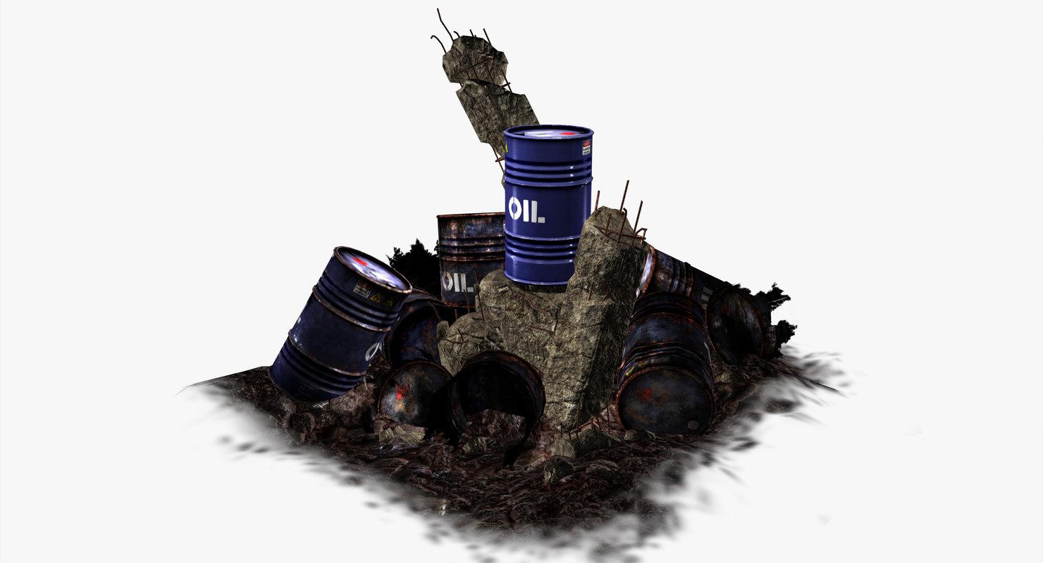 oil barrel blue - 3d model