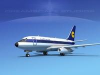 3d boeing 737 737-100 lufthansa model