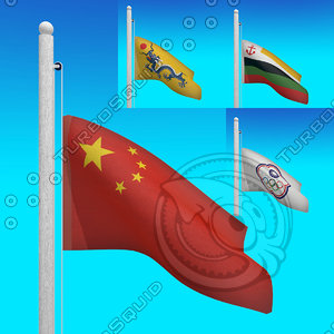 flags china - loop 3d model