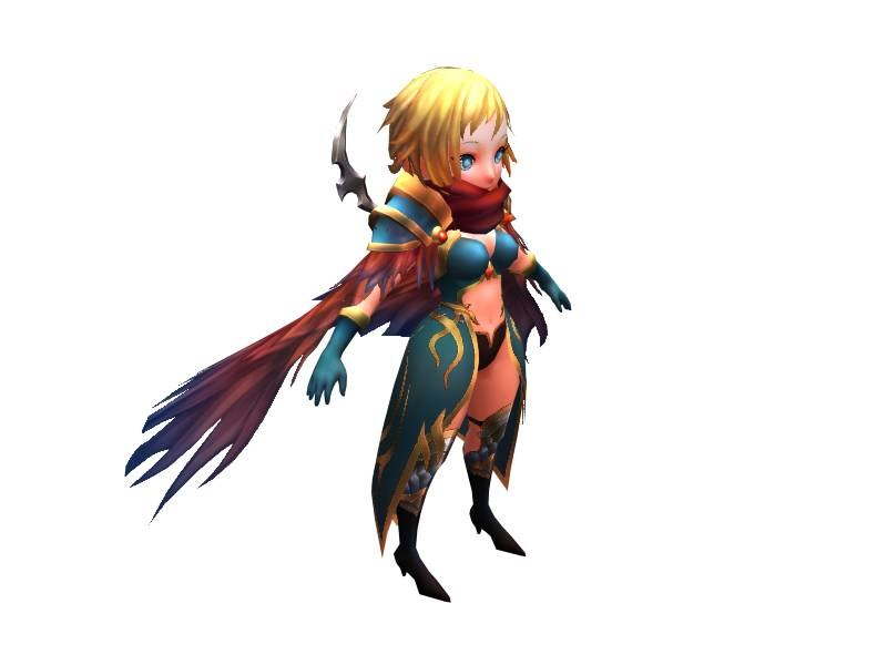 3d cute warrior girl model