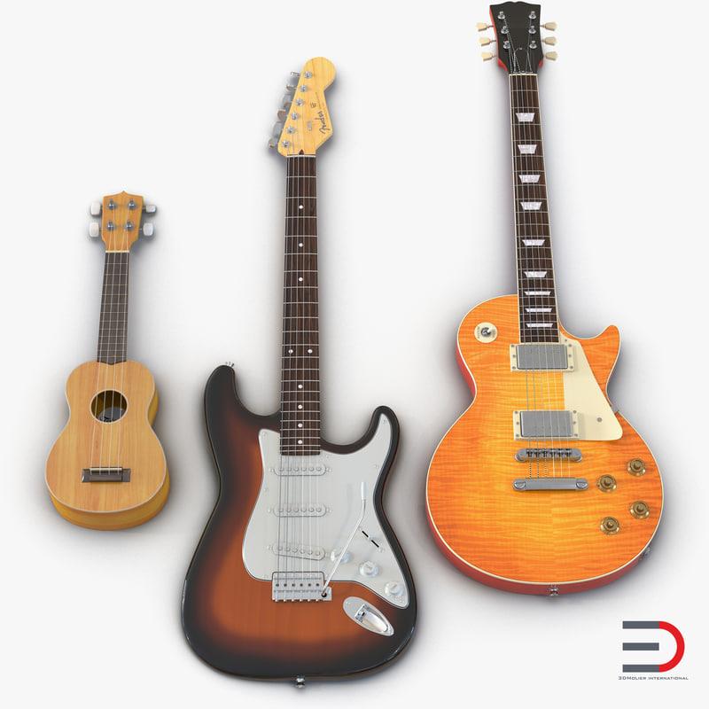 obj guitars set ukulele