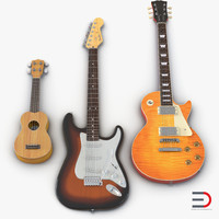 obj guitars set ukulele