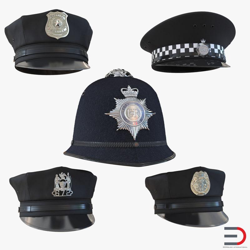3d c4d police hats 3