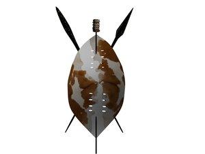 3d model zulu shield spear
