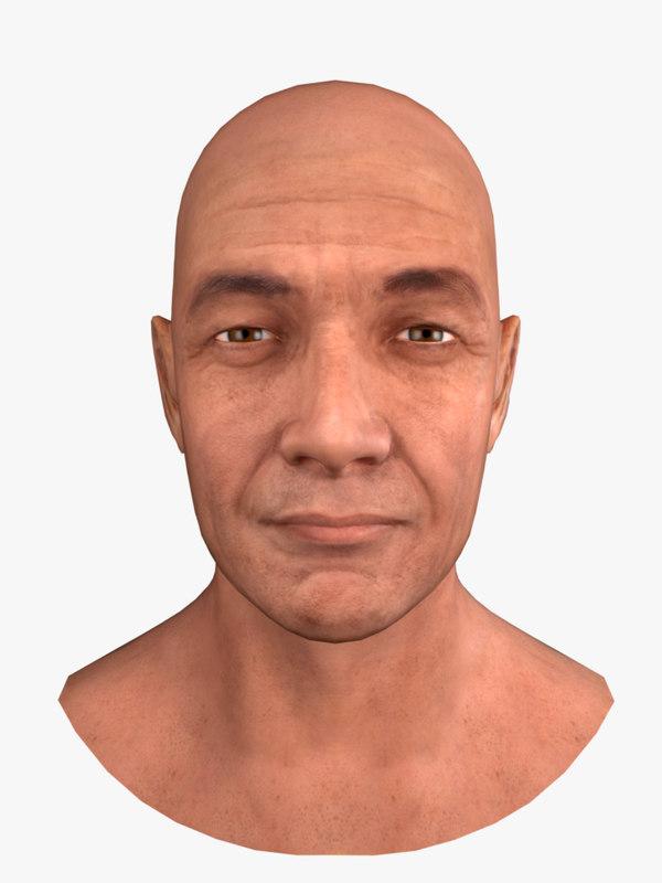 male head human skin obj