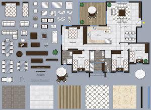 2d furniture floor plans, top-down view. PSD