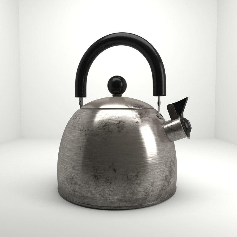 3d model of old vintage kettle