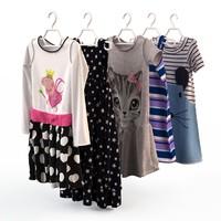 fashion clothing baby girls 3d model