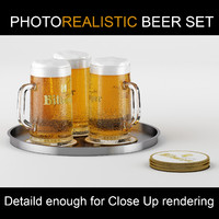 German Bitburger beer: High quality realistic high poly model