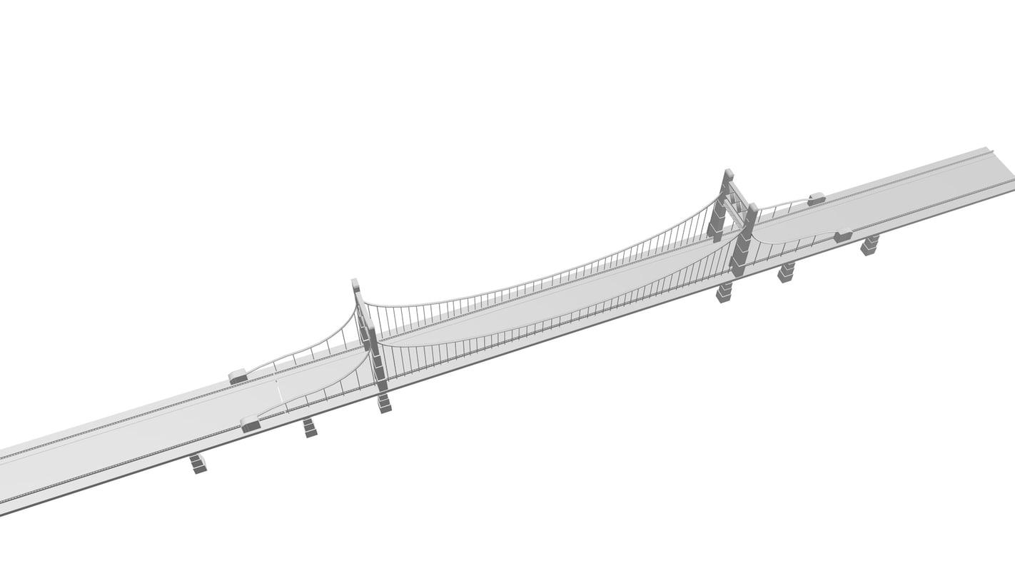 suspension bridge 3d c4d