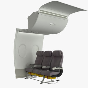 airplane cabin wall a380 3d model