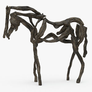 3d horse wooden sculpture wood model