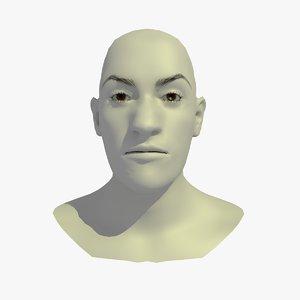 3d model of realistic head base mesh
