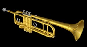 3d model of golden trumpet gold