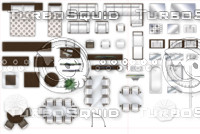 2d floorplan furniture, top-down view.