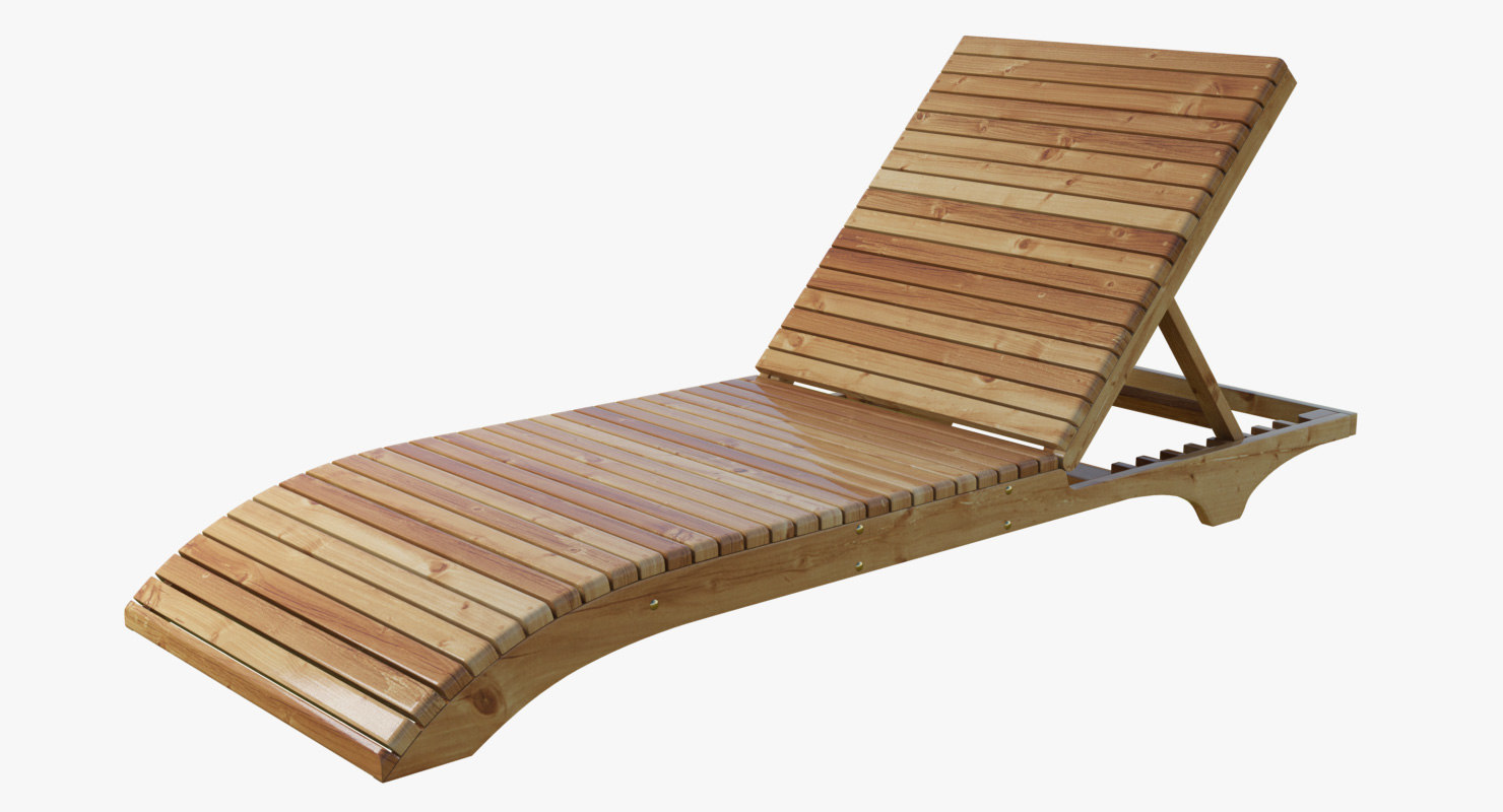 wood lounge chair 3d x