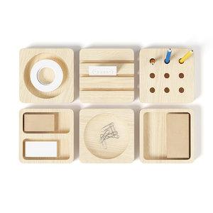 wooden desk utensils 3d model