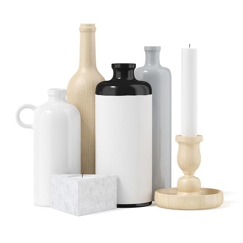 flasks candles 3d max