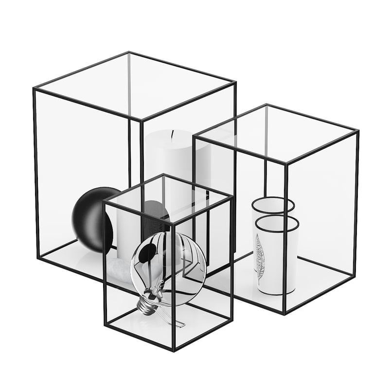 decorative glass cubes 3d c4d