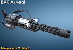 3d model minigun flashlight