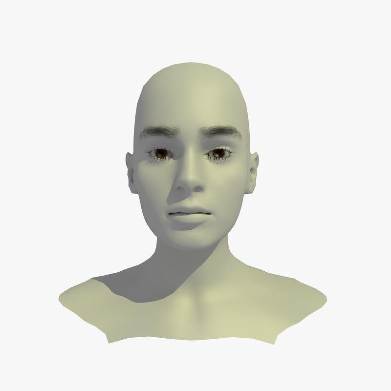 3d realistic head base mesh model