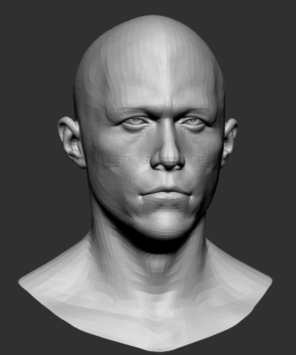 male head base mesh obj