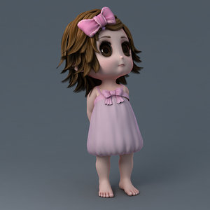 3d cartoon girl rigged model