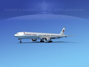3d obj boeing 777-300 airliners