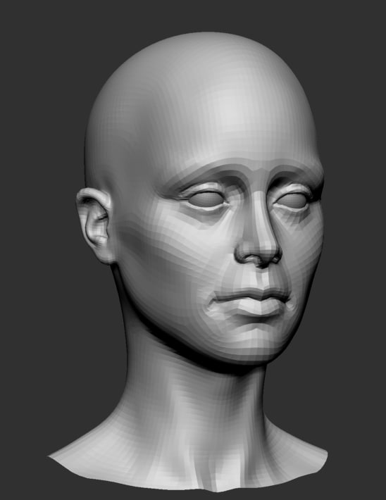 obj female head base mesh