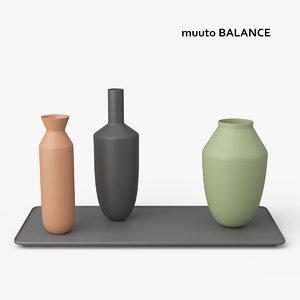 3d model of muuto balance 3 vases