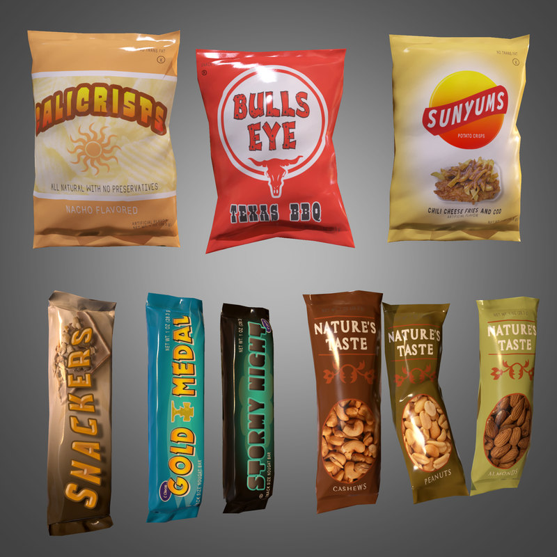 3d snack set - pbr