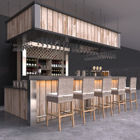 Complete Bar interior with counter, wattled barstools, beer tap, wine bottles and glasses