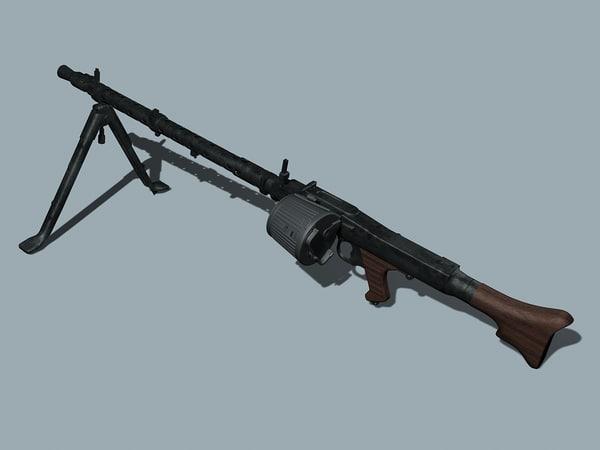 wwii german mg34 3d model