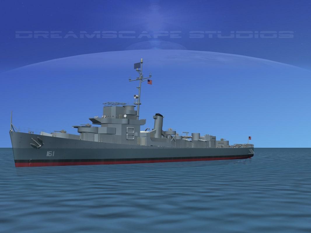 guns buckley class destroyer 3d model
