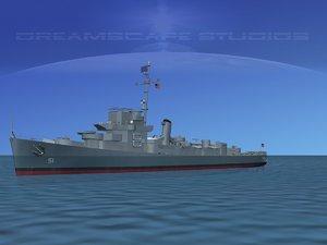 guns buckley class destroyer 3d dxf