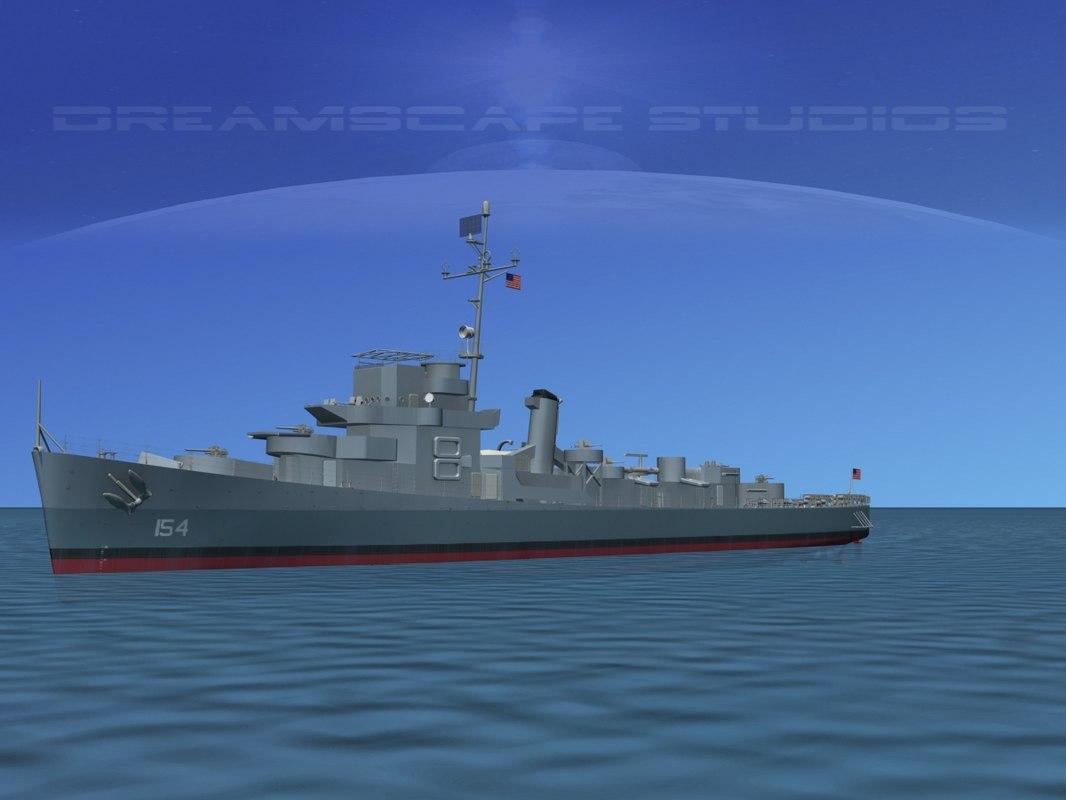 3d model of guns buckley class destroyer