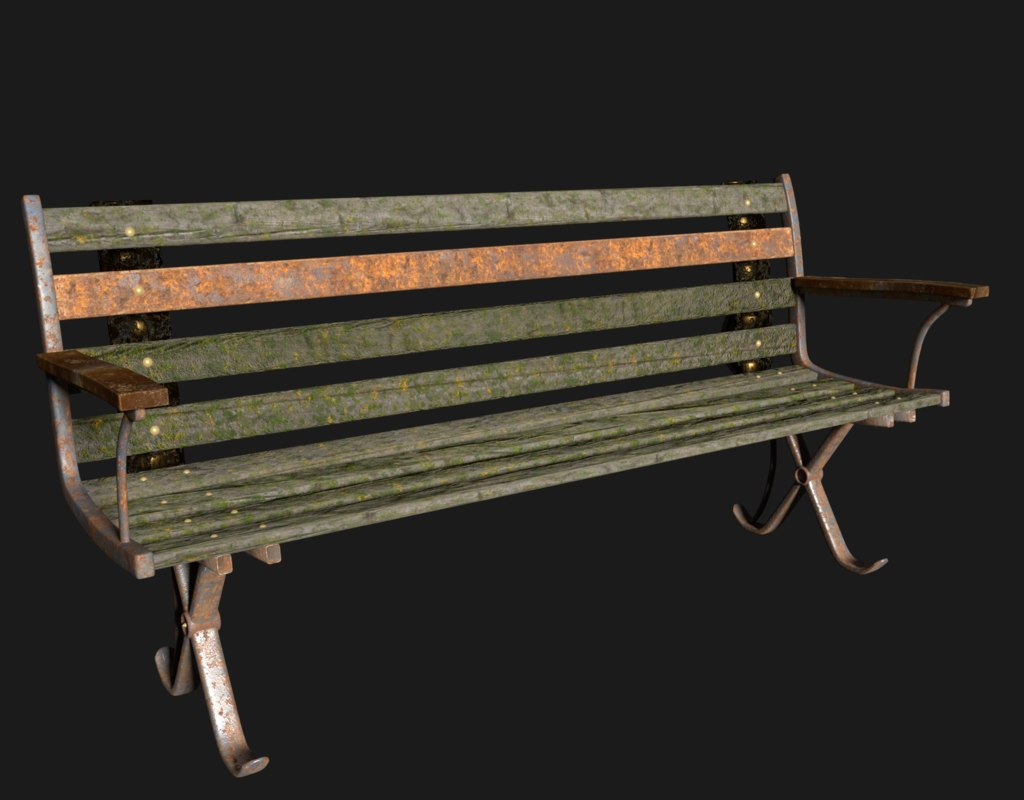 old rusty bench 3d obj