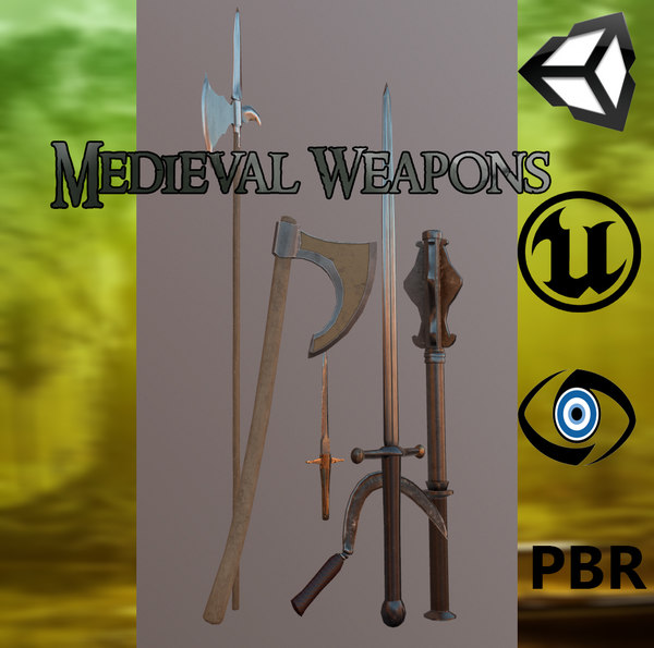 pack meele weapons medieval axe 3d model